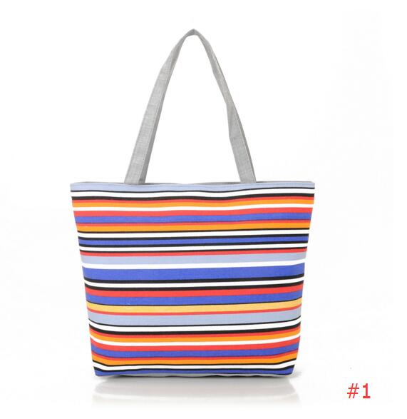 Colourful Striped Canvas Tote Bag