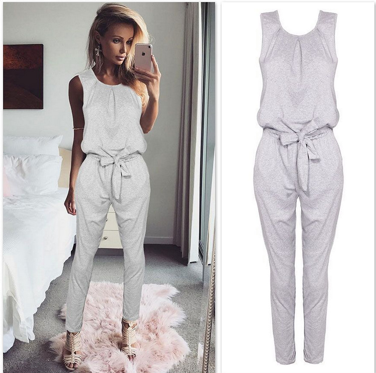 Bowknot Sleeveless Pure Color Loose High Waist Long Jumpsuits