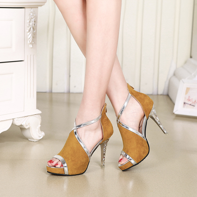 Shinning Cut Out Stiletto Heel Peep-toe High Heel Sandals