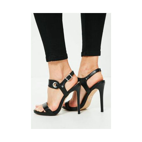2018 Simple Style Open Toe Ankle Wrap Stiletto High Heel Black Pumps Sandals