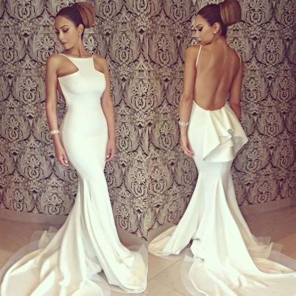 Women's Bridesmaid White Sexy Full Length Backless Off-shoulder Fishtail Mermaid Formal Evening Dresses Party