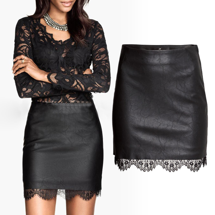 Synthetic Leather Lace Mini Skirt on Luulla