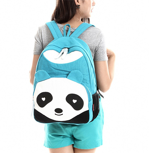 Student Panda Canvas School Backpack
