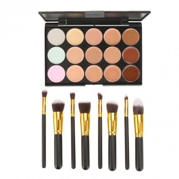 Fashion 15 Colors Contour Face Cream Makeup Concealer Palette With 8pcs Powder Brushes