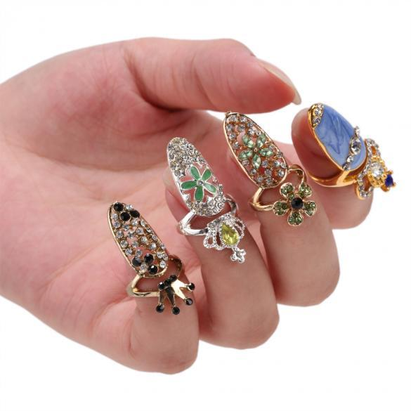 New Rhinestone The Nail Jewelry Finger Rings 3D Rhinestone Sticker Nail Decoration Decal