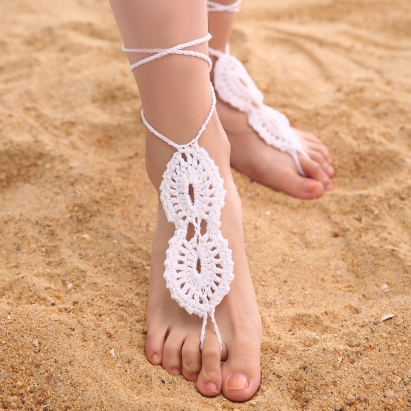 Fashion Women Hand-made Knit Crochet Adjustable Anklets Beach Barefoot Anklets