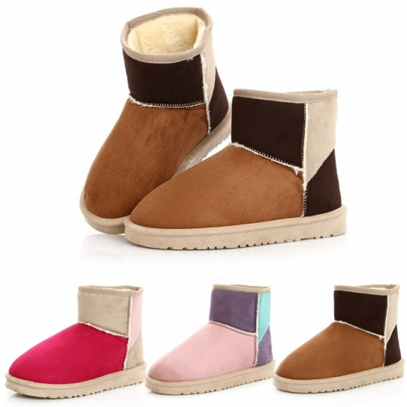 Women Candy Color Winter Warm Snow Half Boots Shoes
