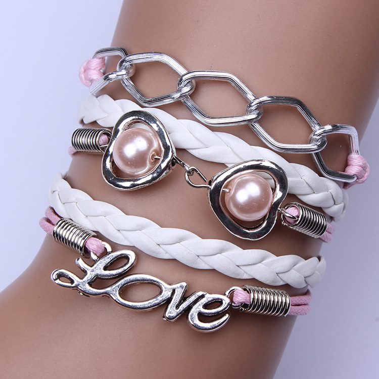 Sweet Pink Chain Heart Pearl Love Bracelet