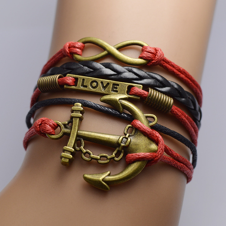 Retro Anchor Woven Multilayer Bracelet