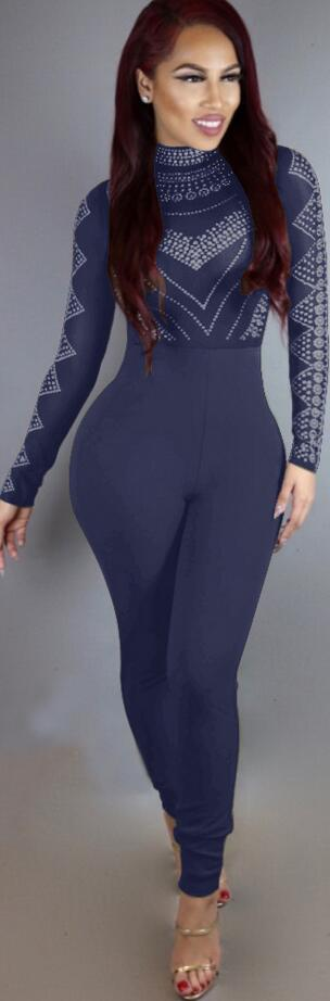 High Neck Print High Waist Slim Long Jumpsuit