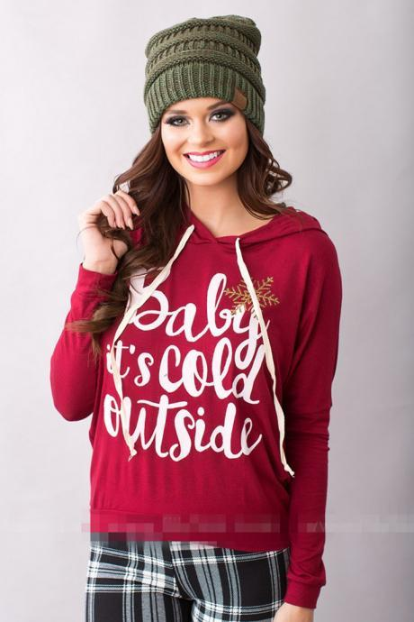 Fashion Women Hooded Long Sleeve Letter Print Pullover Casual Hoodie