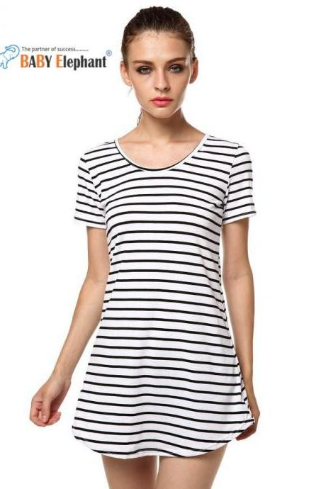 Round Collar Stripe Cocktail Short Sleeve Dress