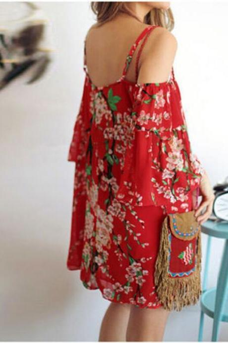 Red Floral Print Chiffon Cold Shoulder Flare-Sleeved Short Dress