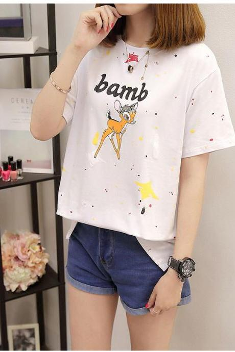 New Fashion Round Collar Printed Short Sleeve T-Shirt