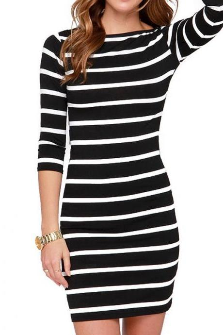 Hot Style Fashion Stripe Bodycon Dress