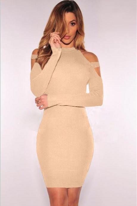 Ribbed Knit Cold-Shoulder Halter Long Sleeves Short Bodycon Dress