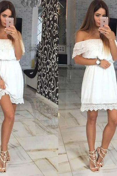 White Off Shoulder Short Dress with Lace Hem