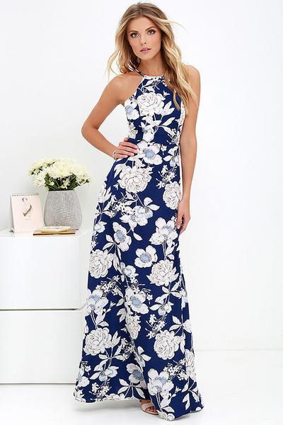 Blue Halter Neckline Chiffon Flower Print Long Dress