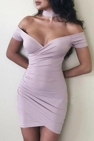 Strapless Pure Color Irregular Bodycon Short Dress