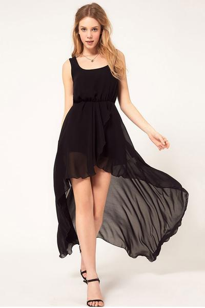 Spaghetti Straps Scoop Chiffon Irregular Long Party Dress