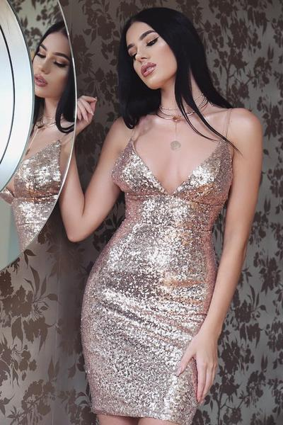 Pure Bright Color Deep V-neck Spaghetti Straps Sequins Short Dress
