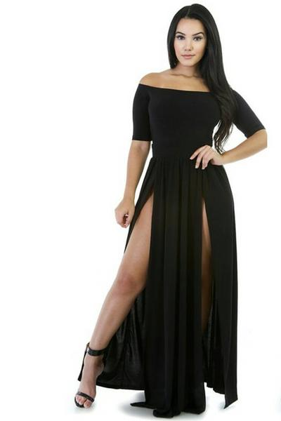 Off Shoulder Split Half Sleeves Backless Long Dress