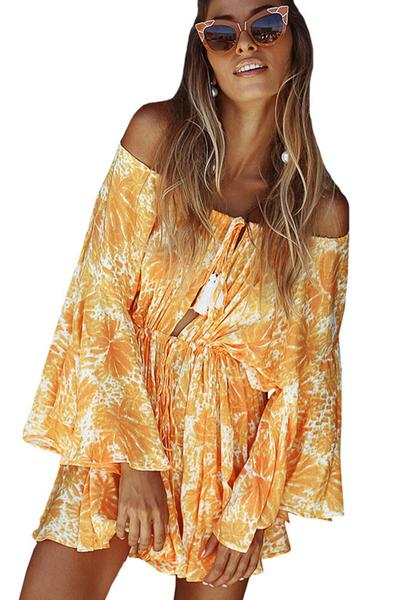 Off Shoulder Long Trumpet Sleeves Print Short Jumpsuit