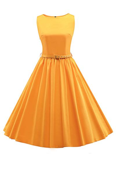 Pure Color Lovely Scoop Sleeveless Pleatered Knee-length Dress