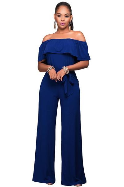 Ruffled Off-The-Shoulder Jumpsuit Featuring Bow Accent Waist
