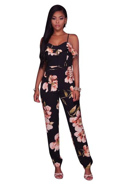 Flower Print Spaghetti Straps Slim Long Jumpsuit
