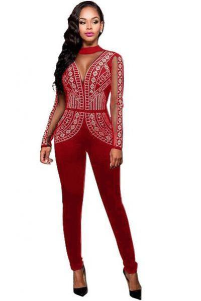 Transparent Patchwork Open Back Long Sleeves Long Jumpsuit