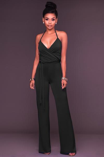 Pure Color Spaghetti Straps Sleeveless Backless Long Jumpsuit