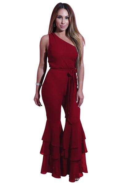 Pure Candy Color One Shoulder Flared Ruffles Long Jumpsuit