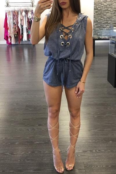 Straps V-neck Sleeveless Short Hooded Jumpsuit
