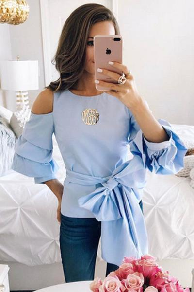 Light Blue Cold Shoulder Ruffled Sleeved Bow Accent Top