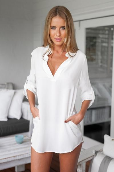 V-neck Pure Color 3/4 Sleeves Long Chiffon Blouse