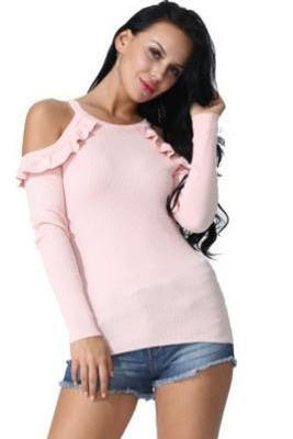 Pink Ribbed Ruffle Cold Shoulder Long Sleeve Top