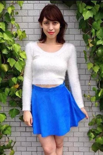 Scoop Pure Candy Color Mohair Long Sleeves Short Sweater