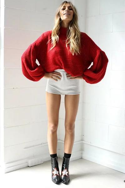 Scoop Pure Color Long Puff Sleeves Loose Sweater