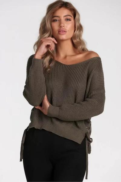 Knitted Plunge V Long Cuffed Sleeves Sweater Featuring Lace-Up Sides
