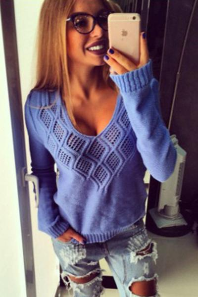 Rhombus Pure Color V-neck Long Sleeves Sweater