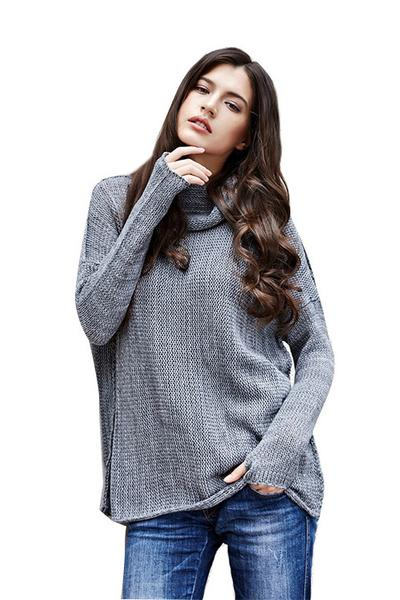 Patchwork Long Sleeves High Neck Long Sweater