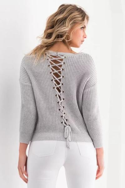 Lace-Up Back Knitted Plunge V Long Cuffed Sleeves Sweater