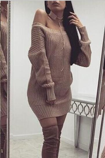 Pure Color Long Sleeves V-neck Backless Long Split Sweater