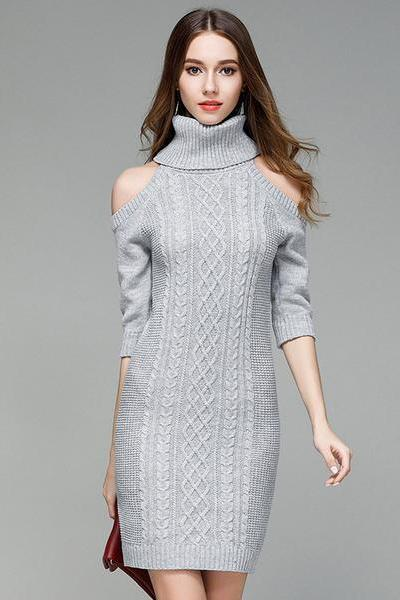 Turtleneck Cold Shoulder Half Sleeved Cable Knit Short Sweater Dress