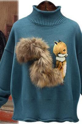 High Neck Fuax Fur Cartoon Print Long Sleeves Regular Sweater