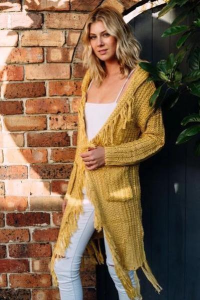 V-neck Long Sleeves Pure Color Long Tassels Loose Cardigan