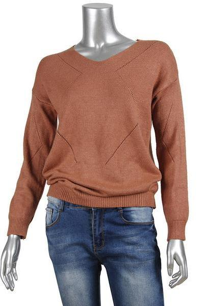 V-neck Long Sleeves Pure Color Regular Sweater