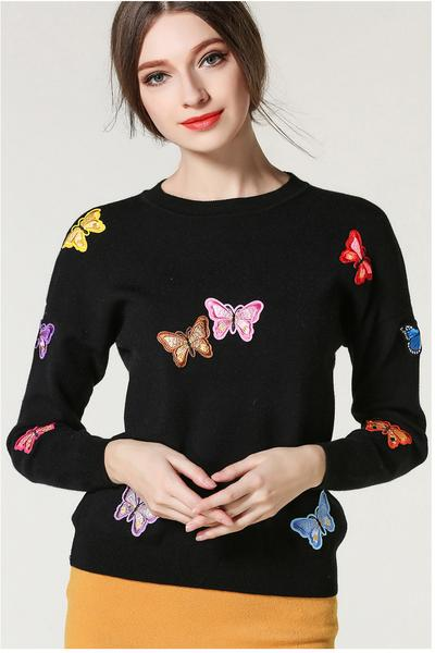 Long Sleeves Butterfly Applique Scoop Regular Sweater