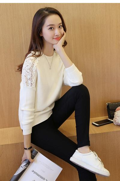 Long Sleeves Pure Color Scoop Lace Regular Sweater